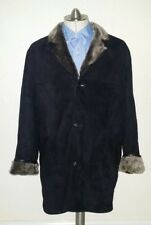 Men`s M / L Handmade Black Sheepskin Shearling Fur Leather Coat  Europe Jacket