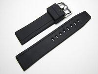20mm Hadley-Roma MS3371 Mens Black Silicone Rubber Watch Strap
