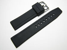 22mm Hadley-Roma MS3371 Mens Black Silicone Rubber Watch Strap