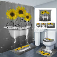 Sunflower Shower Curtains Bath Floor Mat Non-Slip Waterproof Toilet Lid Cover