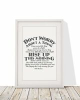Bob Marley Three Little Birds Song Lyrics Print Framed Print With Mount