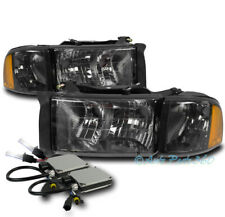99-01 DODGE RAM 1500 SPORT SMOKE HEADLIGHT W/CORNER TURN SIGNAL LAMP+6K HID KIT