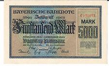 GERMANY BANKNOTE Bayerische Notenbank 5000 S925 1922 GEF-AU