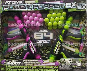 Atomic Power Popper 2 Gun Pack with 84 Soft Foam Balls - Indoor or Outdoor Game