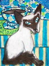 New listing Balinese Cat Drinking Coffee Collectibles 8 x 10 Signed Giclee Pop Art Print