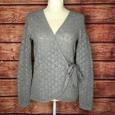 Sarah Spencer Size Small Wool Angora Open Knit Gray Wrap Cardigan Sweater