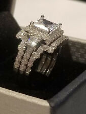 Band White Gold Sterling 2 Bands 4 Ct Princess cut Engagement Ring Wedding