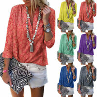 Women's Floral Printed Long Sleeve Blouses Buttons Casual Work T-Shirts Tops Tee