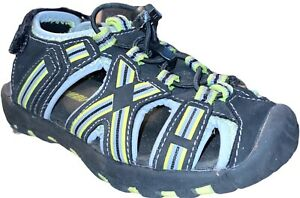 KHOMBU Kids Toddler  Sport Sandals Shoes Black Gray Slip On Closed Toe Sz 10 PU