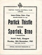 More details for 63/64 partick thistle v spartak brno (fairs cup)
