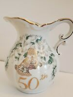 Lefton 50th Anniversary Pitcher Handpainted Flowers Dove Bells Gold Trim #2699