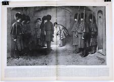 1875 TOWER OF LONDON, CEREMONY OF LOCKING UP Double-Page Woodblock Print