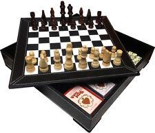 "Chess Checker Domino Game Set 13"" Leather 5 In 1 Storage Board Box (1253)"