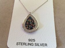 925 STERLING SILVER  MULTI COLOR CUBIC ZIRCONIA GREEK MATI NECKLACE