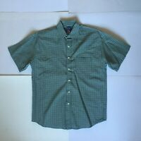 Quiksilver Silver Edition Mens S Green Checked Short Sleeve Button Up Shirt