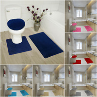BATHROOM SET RUG CONTOUR MAT TOILET LID COVER SOLID EMBROIDERY BATHMATS #5 3pc