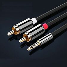 3m HQ 3.5mm Mini Stereo Jack to 2 x RCA Twin Phono Cable Lead GOLD PC TV Aux UK
