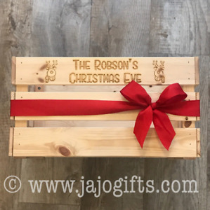 Large Solid Wood Christmas Eve Box Crate with Reindeer Design