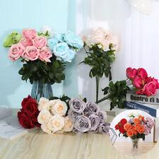 Heads Fake Artificial Flowers  Party Decor Home Silk 10 Bouquet Wedding Rose