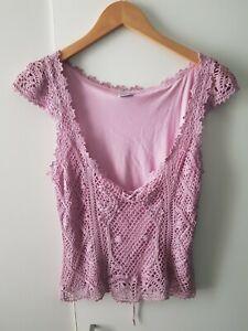 Vintage Y2k 90's Knit Lace Top Pink Purple Size 14 Low V Neck
