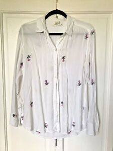 H&M LOGG Sustainable White Floral Embroidered Shirt Uk 10