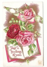 Just A Few Lines To You, Roses, Antique Embossed Greetings Postcard
