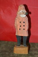 Vintage Hand Painted and Carved Wooden Old Captain with Rain Coat  6-1/4'