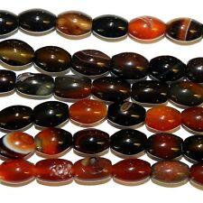 """NG2885f Red & Black 12x8mm Tapered Barrel Oval Agate Gemstone Beads 15"""""""