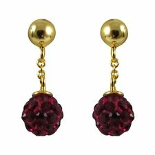 Shamballa Inspired Red Crystal Balls Sterling Silver Gold Plated Kids Earrings