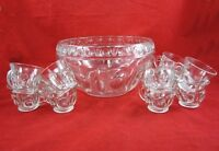 VINTAGE CLASSIQUE GLASS PUNCH BOWL & 11 CUPS Sterling Crystal Indiana Colony