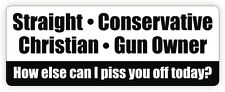 Straight Conservative Christian Gun Owner / Piss You Off Bumper Sticker / Decal