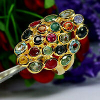NATURAL FANCY COLOR RUBY EMERALD SAPPHIRE & ZIRCON RING 925 STERLING SILVER