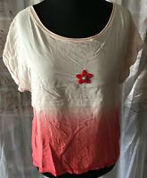 STARDUST AVENUE Damen T-Shirt Farbverlauf rosa rot Gr L Perlen-Stern Viskose