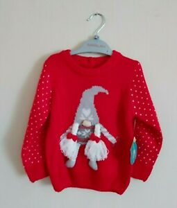 Girls Knitted Christmas Jumper. Age 18-24 Months. Christmas Gnome With Pigtails