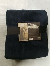 50 by 60 plush throw blanket twin size color dark blue navy