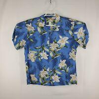 Vintage Paradise Found Mens Blue Floral Hawaiian Magnum PI Camp Shirt Size Large