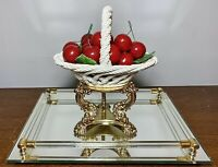 VTG Lanzazin Capodimonte Italy Porcelain Woven Handled Basket Of Cherries 6.25""