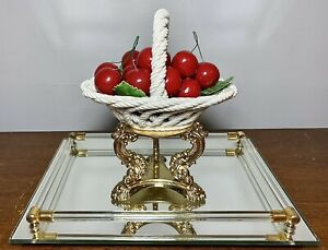 "VTG Lanzazin Capodimonte Italy Porcelain Woven Handled Basket Of Cherries 6.25"""