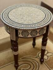 "Egyptian End Table Wood Inlaid Mother of Pearl (16"")"