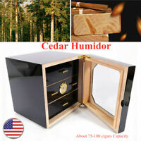 Black Gloss Piano Finish Cedar Lined Cigar Cabinet Humidor 3 Drawers+Humidifier