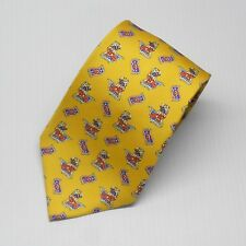$95 Olimpo Tie Yellow with Flying Carpet Rider from India 100% Silk New with tag