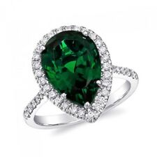 Natural Chrome Tourmaline 6.16 carats set in 14K White Gold Ring