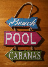 BEACH POOL CABANAS ARROWS Tropical Poolside Rustic Tiki Bar Home Decor Sign NEW