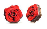 Green Tree Jewelry Deep Red Rose Wooden Laser Cut Stud Earrings #3021