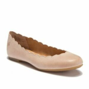NEW Born Allie Scalloped Leather Flat Slip On Taupe Womens CHOOSE SIZE NWOB