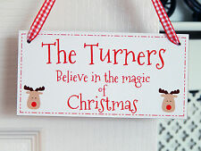 Believe in the magic of Christmas Reindeer Sign - Personalised Family Decoration