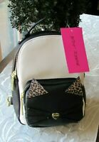 BETSEY JOHNSON  Kitsch Mini Size Cat w/ Cheetah Print Backpack NWT $68.00