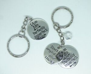 I Am Me Perfectly Imperfect Keyring Bag charm Gift Inspirational Quote Sparkle