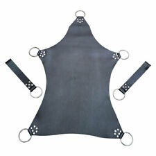 Real Black Mens Leather Heavy Duty Sex Sling Swing Stirrups Mountable