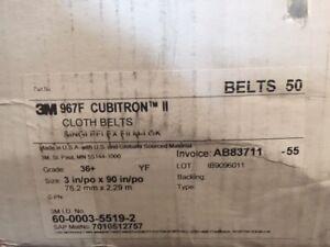 "(Box of 50) 3M 3"" X 90"" Cubitron II Cloth Belt 967F 36 GRADE (NEW)"
